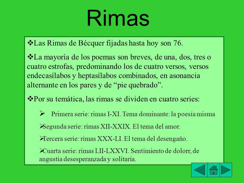 Rimas Primera serie: rimas I-XI. Tema dominante: la poesía misma