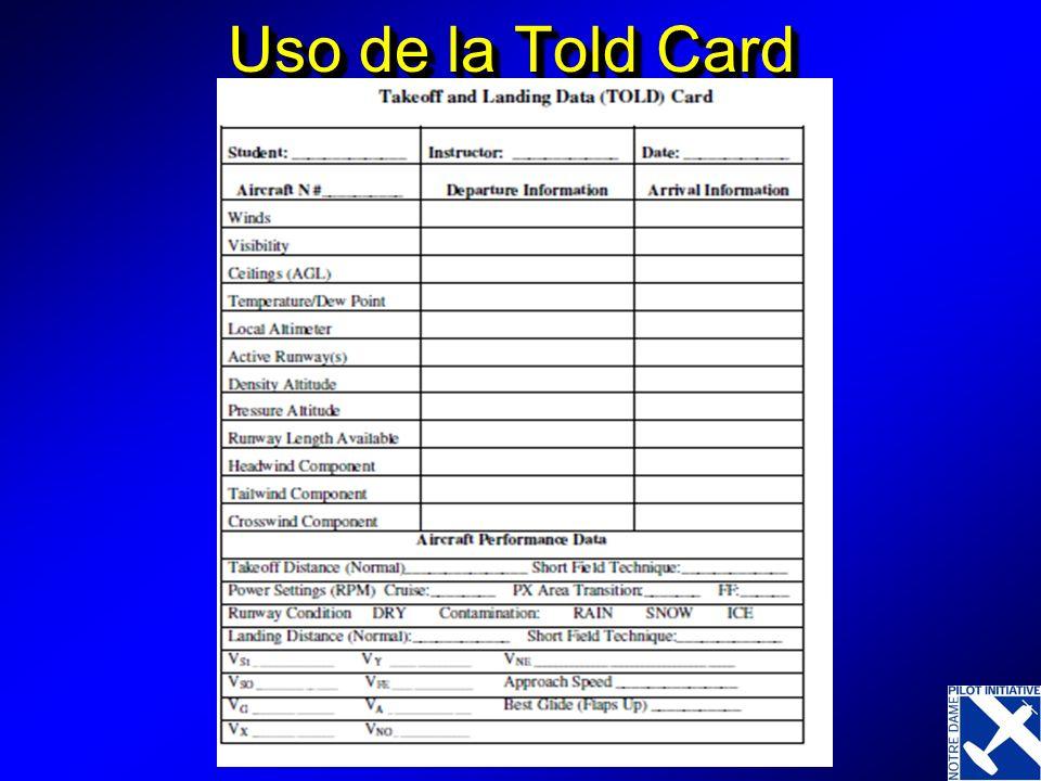 Uso de la Told Card