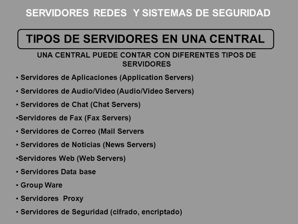 TIPOS DE SERVIDORES EN UNA CENTRAL