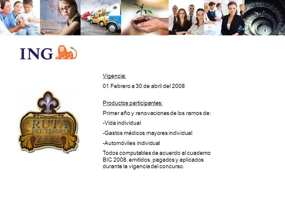 Vigencia: 01 Febrero a 30 de abril del 2008. Productos participantes: Primer año y renovaciones de los ramos de: