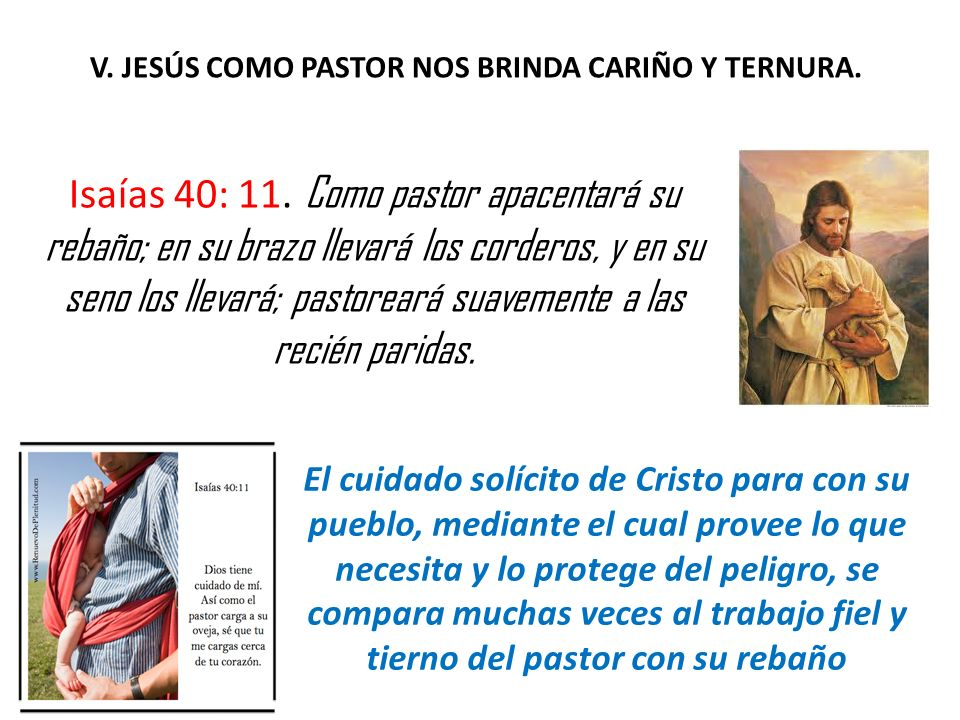 V. JESÚS COMO PASTOR NOS BRINDA CARIÑO Y TERNURA.