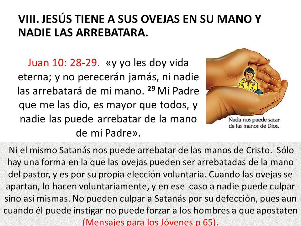 VIII. JESÚS TIENE A SUS OVEJAS EN SU MANO Y NADIE LAS ARREBATARA.