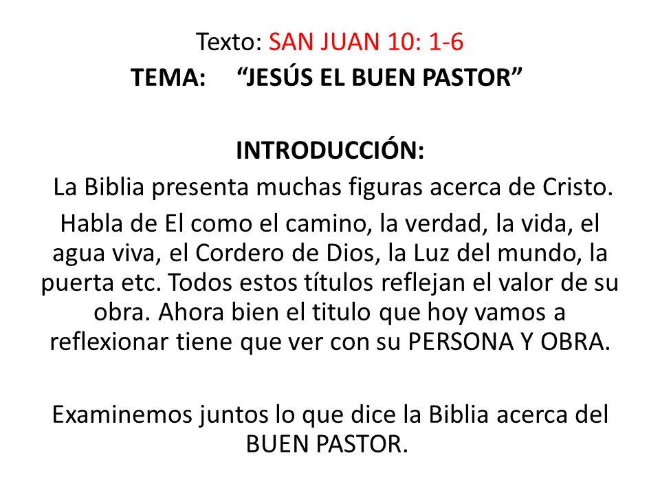 Texto: SAN JUAN 10: 1-6 TEMA: JESÚS EL BUEN PASTOR INTRODUCCIÓN: La Biblia presenta muchas figuras acerca de Cristo.