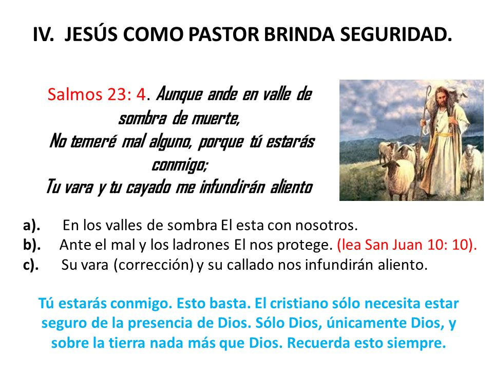 IV. JESÚS COMO PASTOR BRINDA SEGURIDAD.