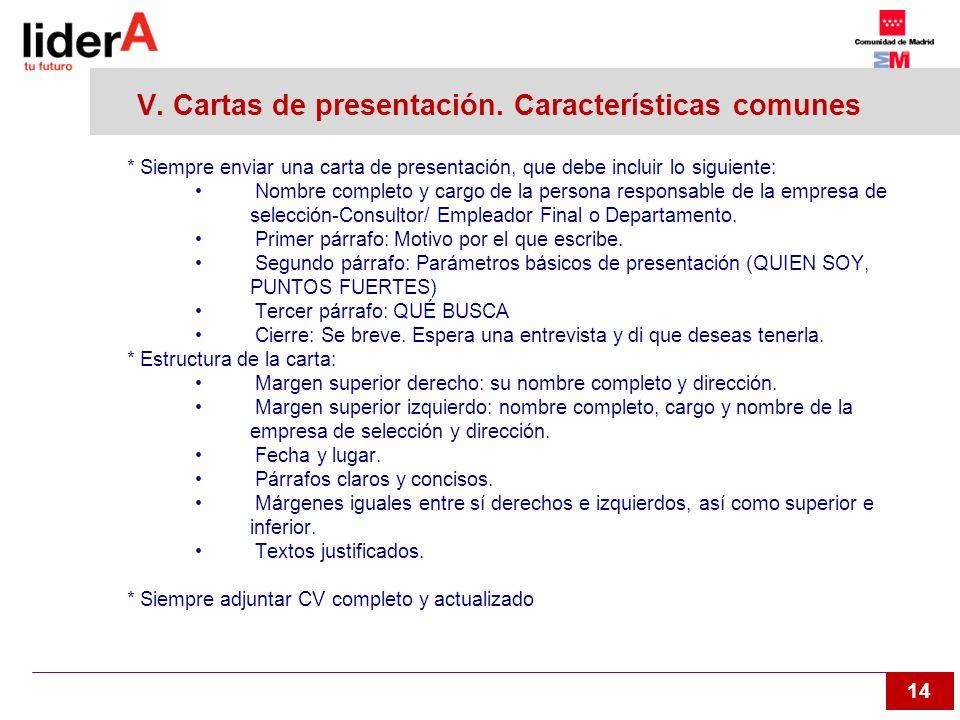 V. Cartas de presentación. Características comunes