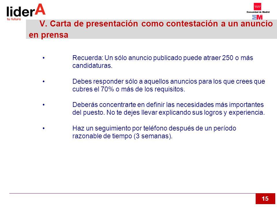 V. Carta de presentación como contestación a un anuncio en prensa