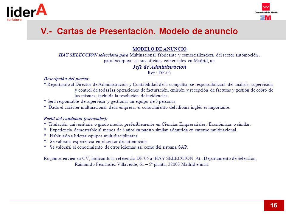 V.- Cartas de Presentación. Modelo de anuncio