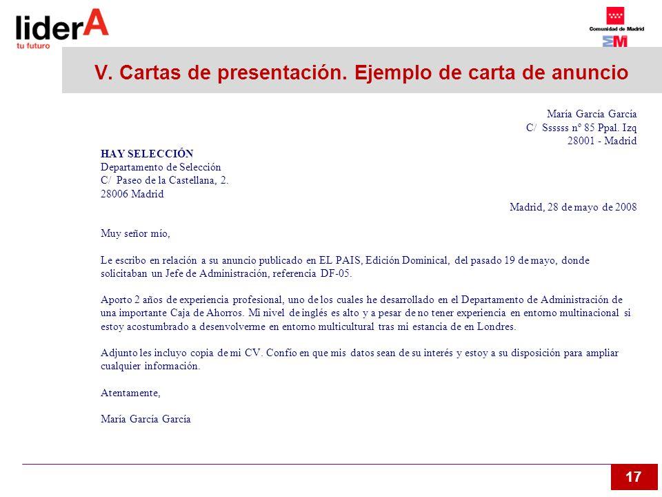 V. Cartas de presentación. Ejemplo de carta de anuncio