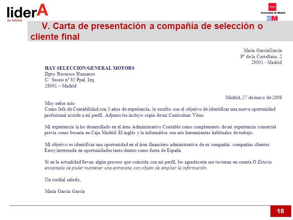 V. Carta de presentación a compañía de selección o cliente final