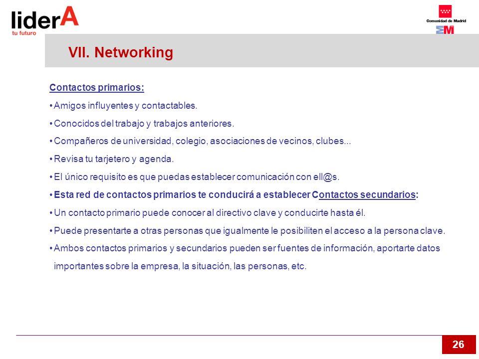 VII. Networking Contactos primarios: