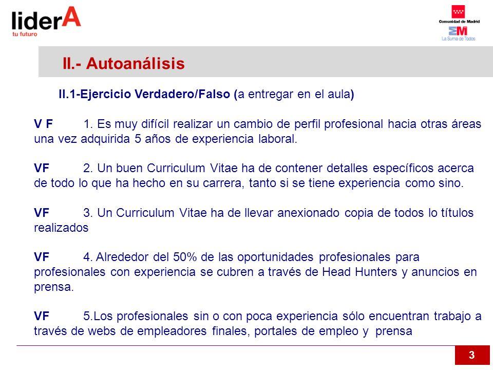II.- Autoanálisis II.1-Ejercicio Verdadero/Falso (a entregar en el aula)