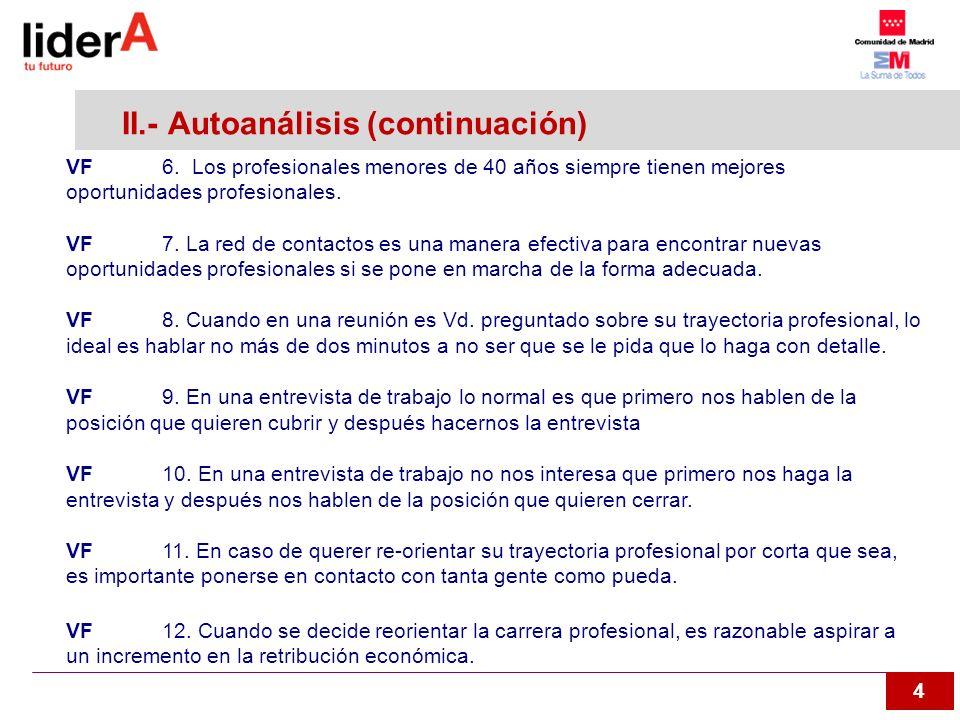 II.- Autoanálisis (continuación)