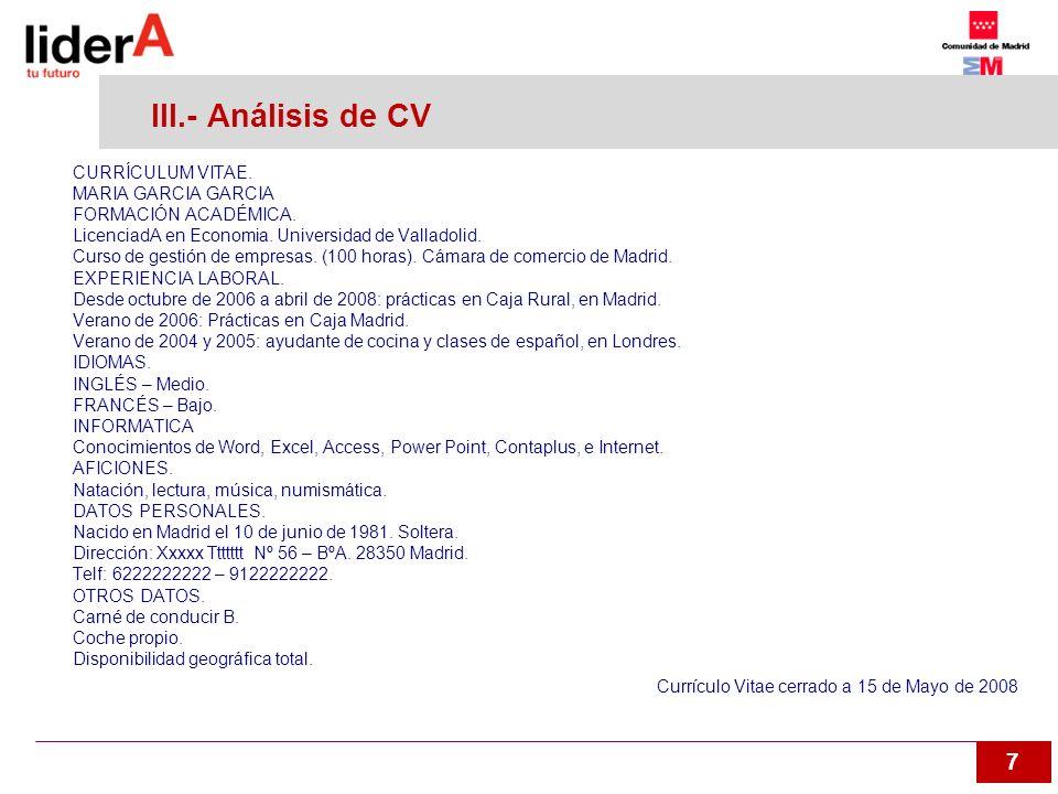 III.- Análisis de CV CURRÍCULUM VITAE. MARIA GARCIA GARCIA