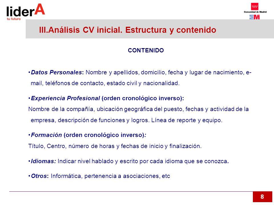 III.Análisis CV inicial. Estructura y contenido