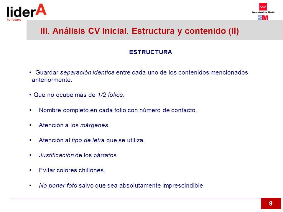 III. Análisis CV Inicial. Estructura y contenido (II)