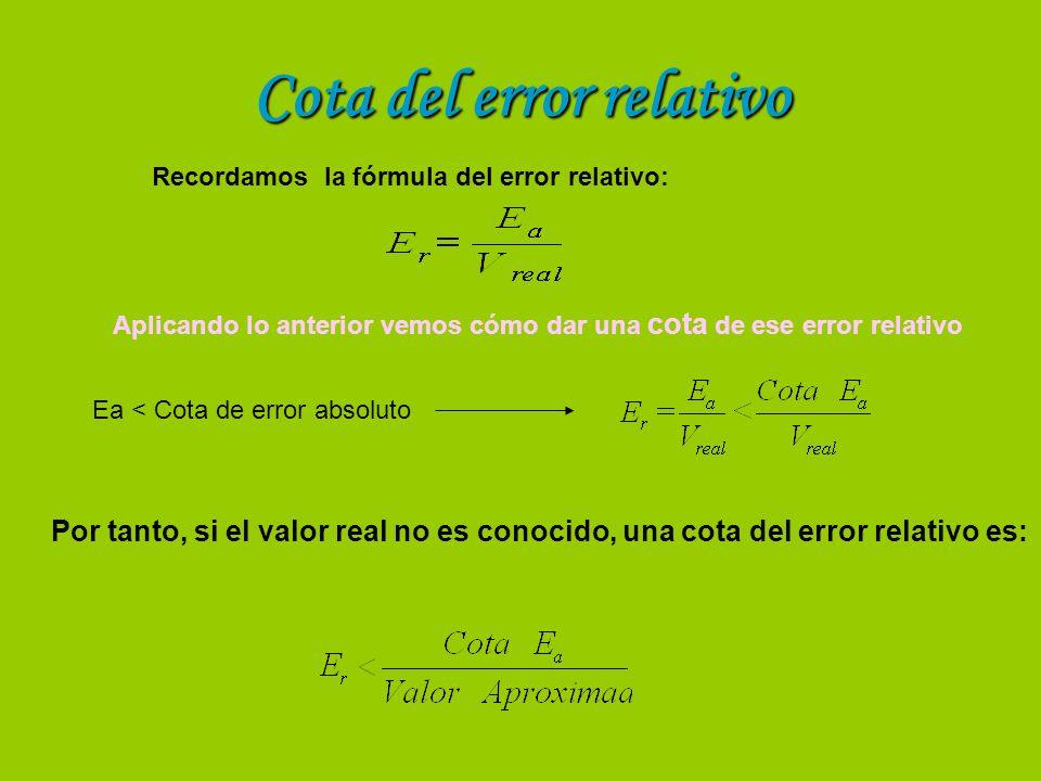 Cota del error relativo