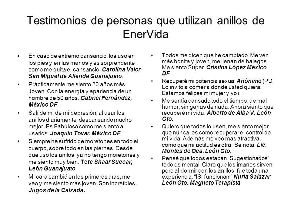 Testimonios de personas que utilizan anillos de EnerVida