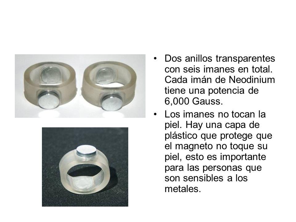 Dos anillos transparentes con seis imanes en total