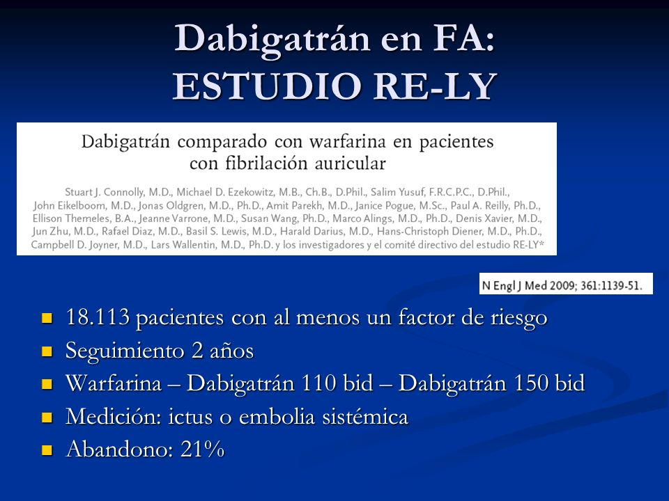 Dabigatrán en FA: ESTUDIO RE-LY