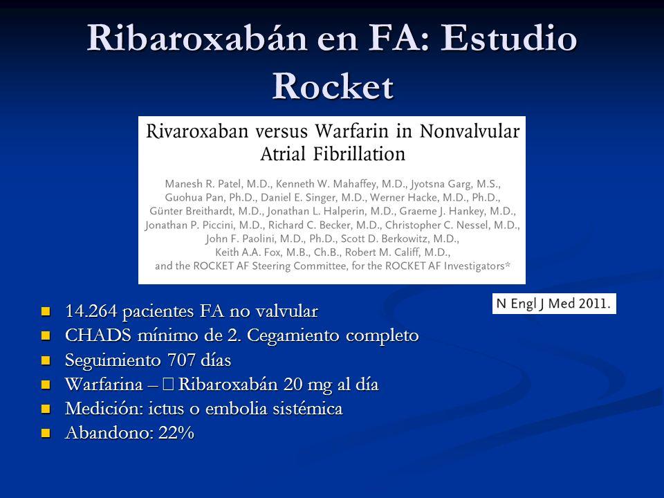 Ribaroxabán en FA: Estudio Rocket