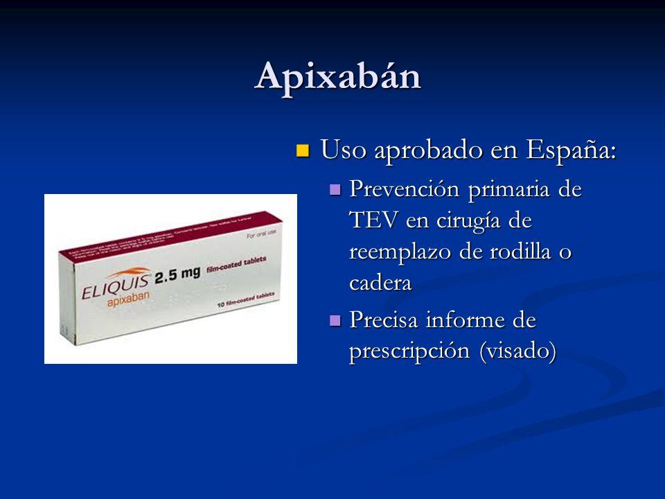 Apixabán Uso aprobado en España: