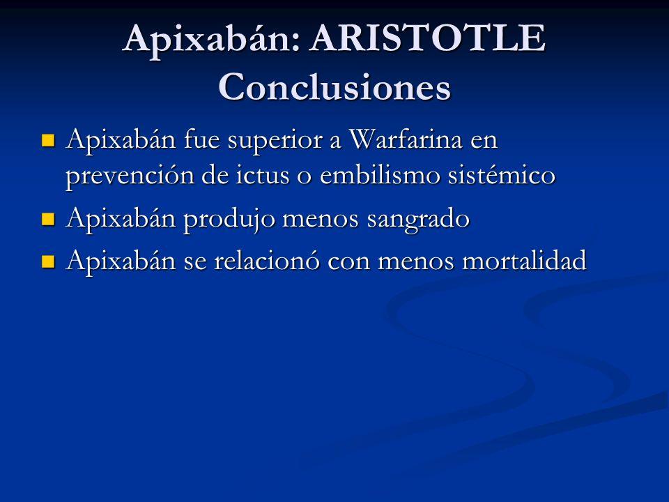Apixabán: ARISTOTLE Conclusiones