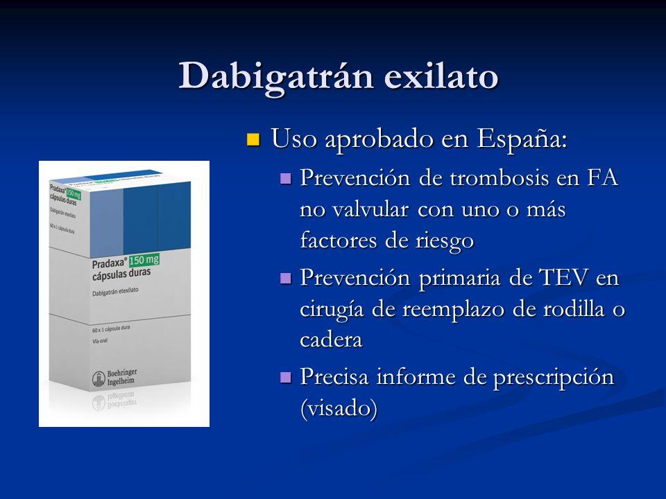 Dabigatrán exilato Uso aprobado en España: