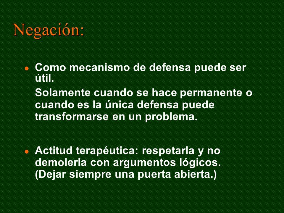 Negación: Como mecanismo de defensa puede ser útil.