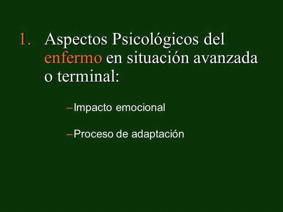 Aspectos Psicológicos del enfermo en situación avanzada o terminal: