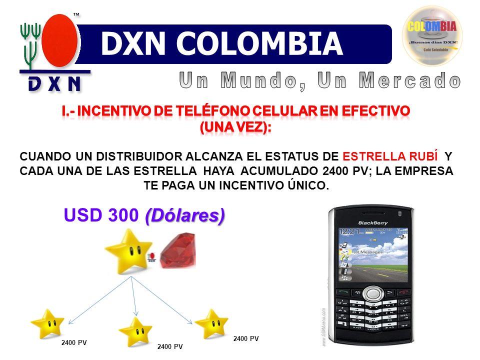 I.- Incentivo de teléfono celular en efectivo (una vez):