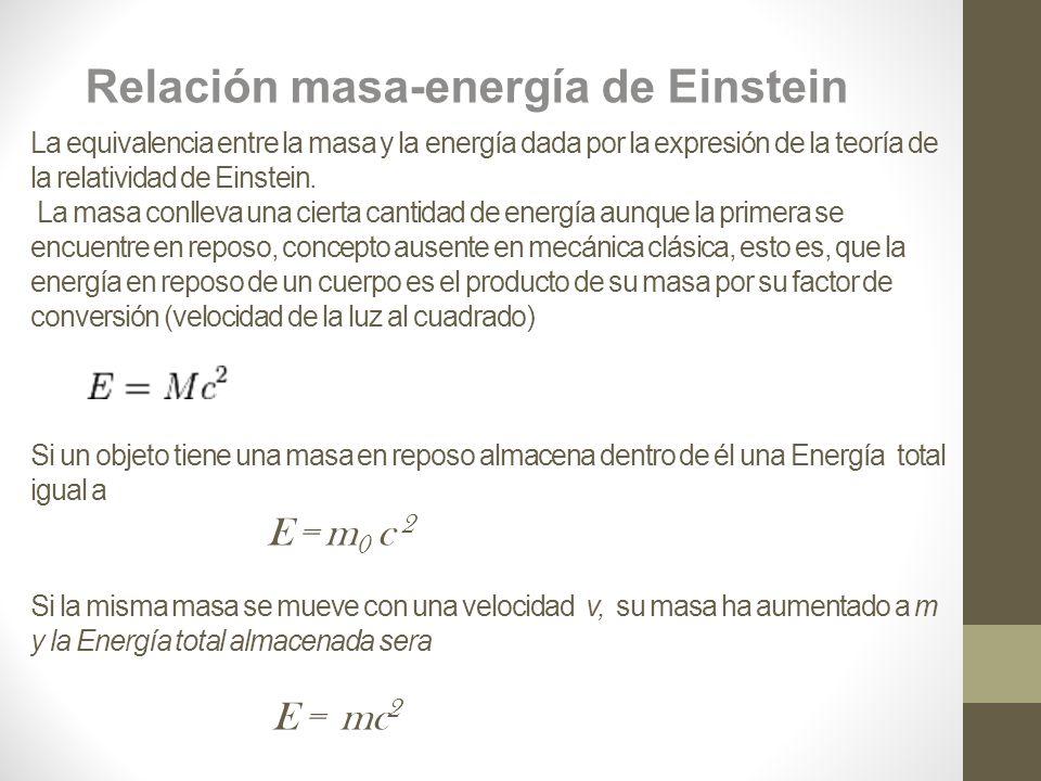 Relación masa-energía de Einstein