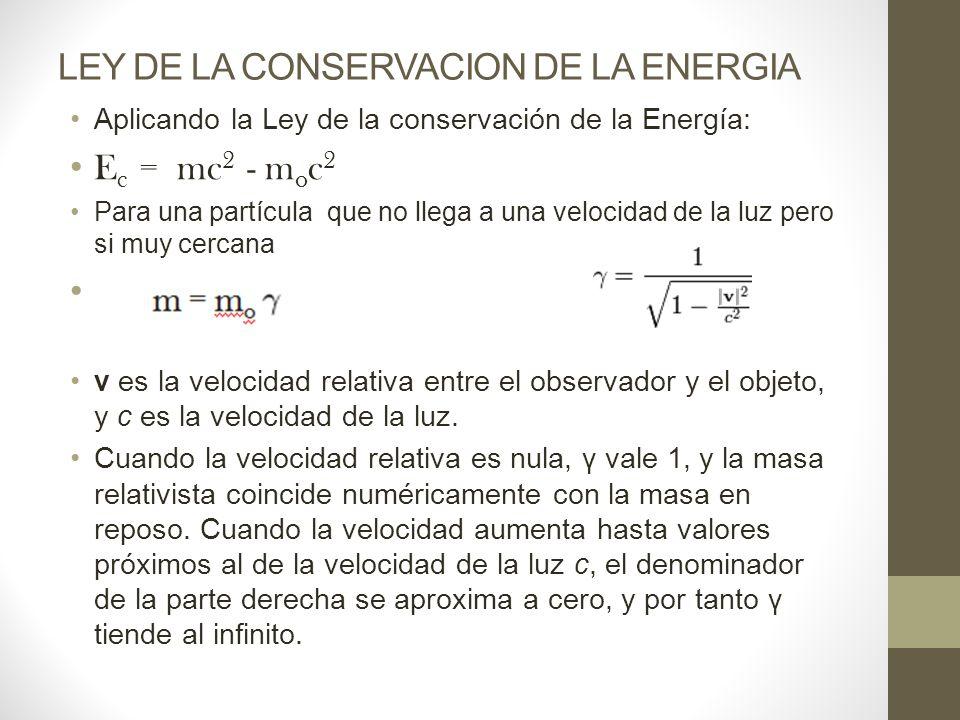 LEY DE LA CONSERVACION DE LA ENERGIA