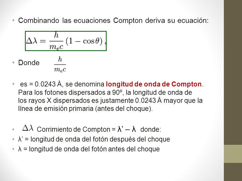 Combinando las ecuaciones Compton deriva su ecuación: