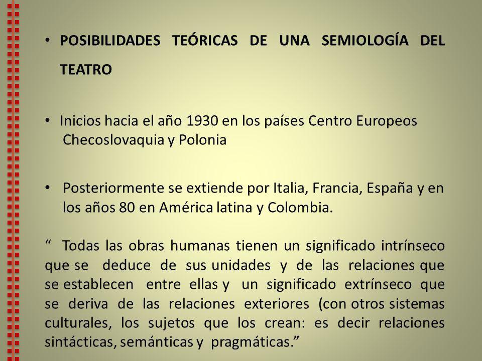 POSIBILIDADES TEÓRICAS DE UNA SEMIOLOGÍA DEL TEATRO
