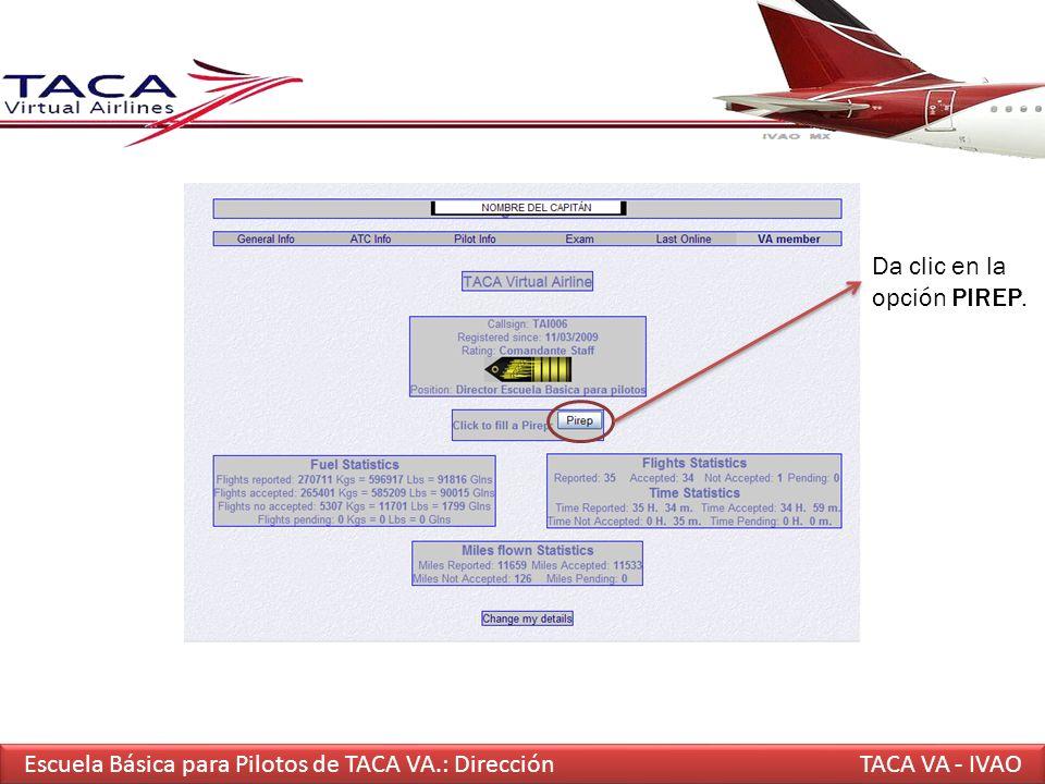 Escuela Básica para Pilotos de TACA VA.: Dirección TACA VA - IVAO