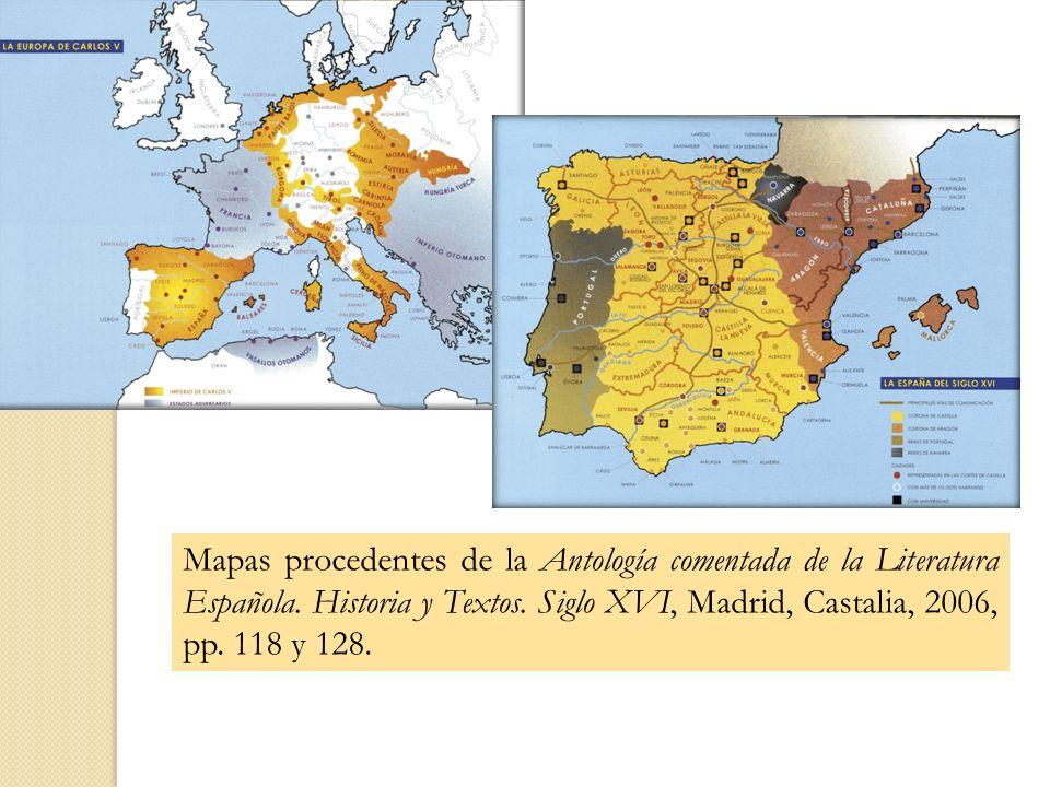 Mapas procedentes de la Antología comentada de la Literatura Española