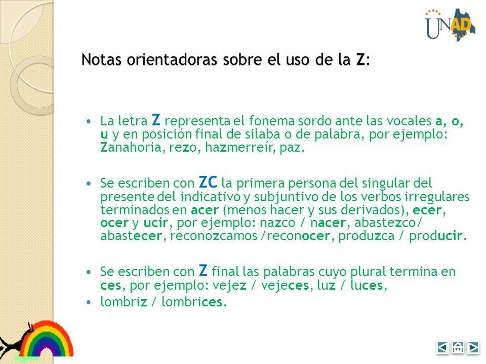 Notas orientadoras sobre el uso de la Z: