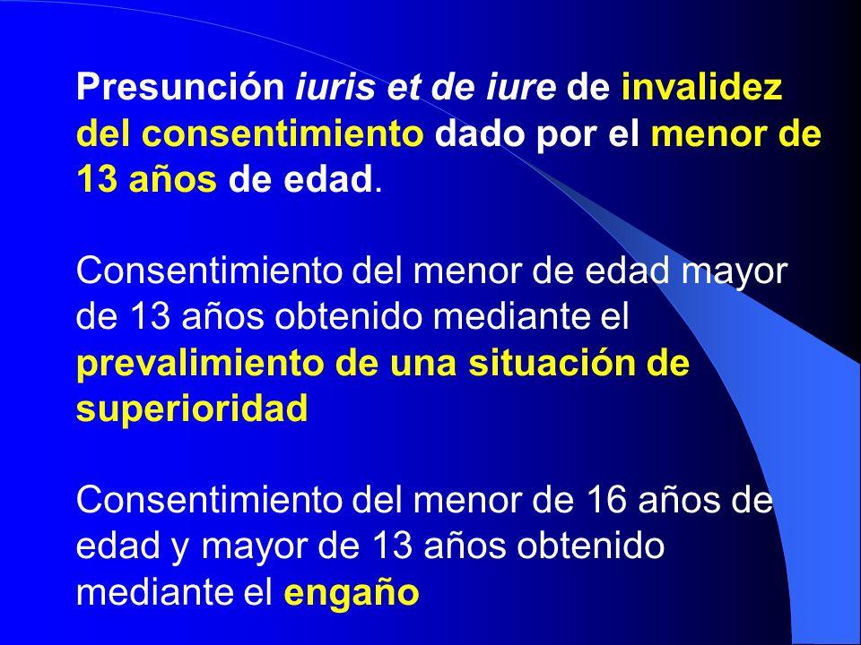 Presunción iuris et de iure de invalidez del consentimiento dado por el menor de 13 años de edad.