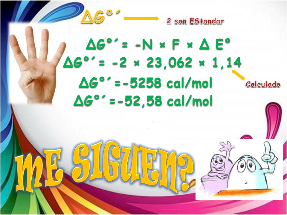 ME SIGUEN ΔG°´ ΔG°´= -N × F × Δ E° ΔG°´= -2 × 23,062 × 1,14