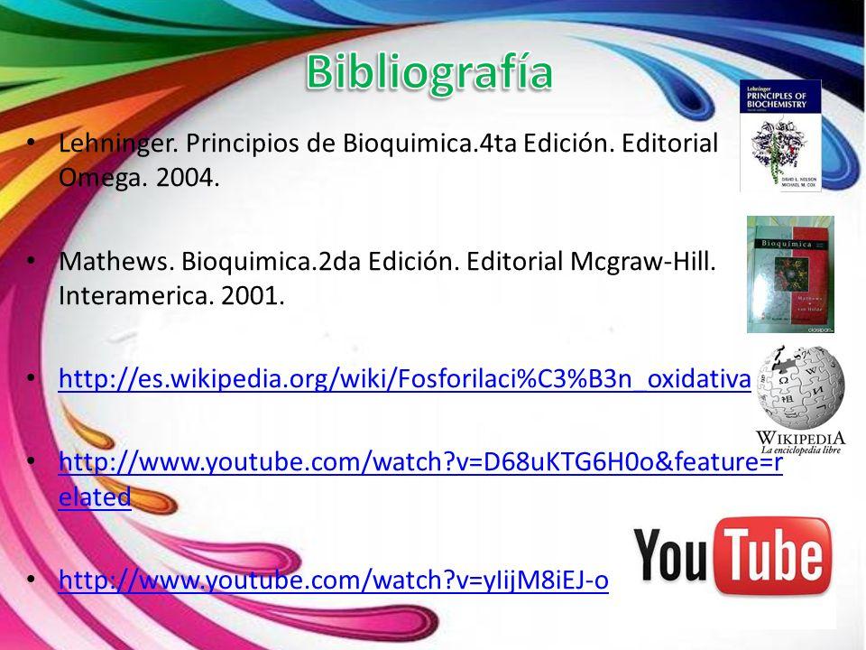 Bibliografía Lehninger. Principios de Bioquimica.4ta Edición. Editorial Omega. 2004.