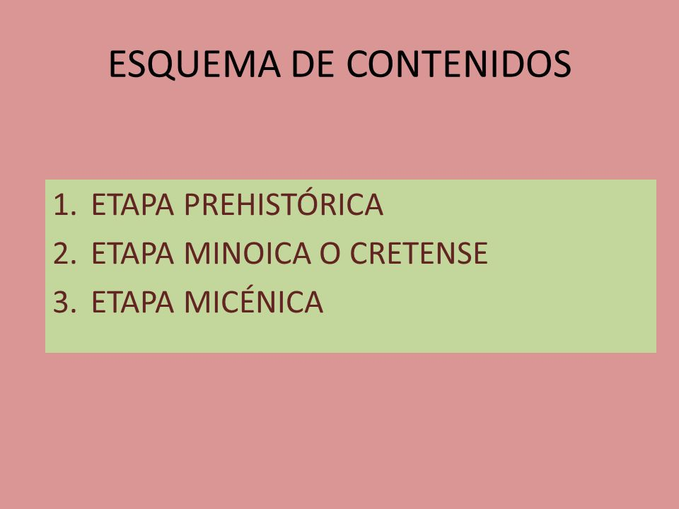 ESQUEMA DE CONTENIDOS ETAPA PREHISTÓRICA ETAPA MINOICA O CRETENSE