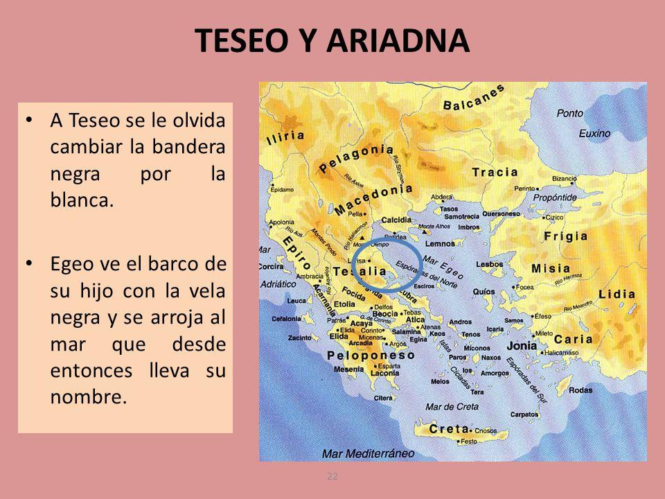 TESEO Y ARIADNA A Teseo se le olvida cambiar la bandera negra por la blanca.