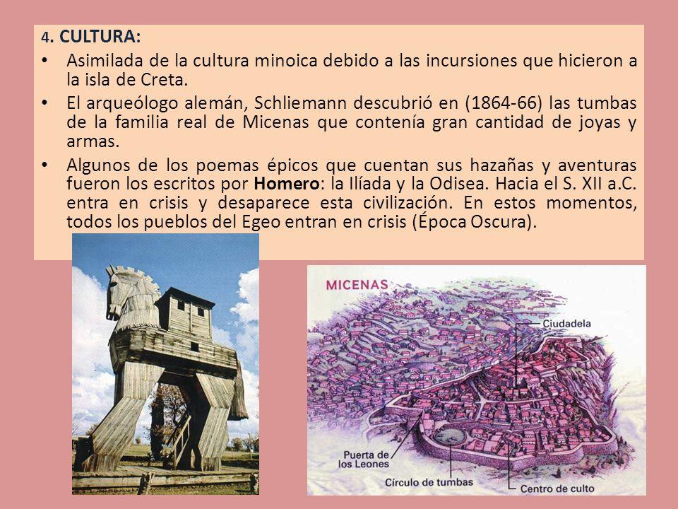 4. CULTURA: Asimilada de la cultura minoica debido a las incursiones que hicieron a la isla de Creta.