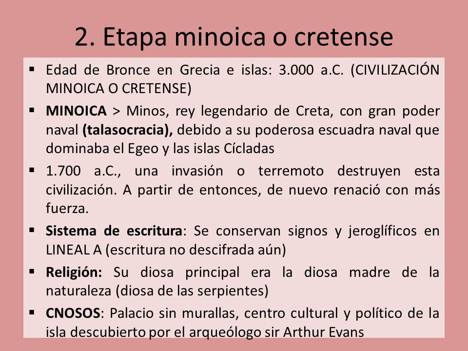 2. Etapa minoica o cretense
