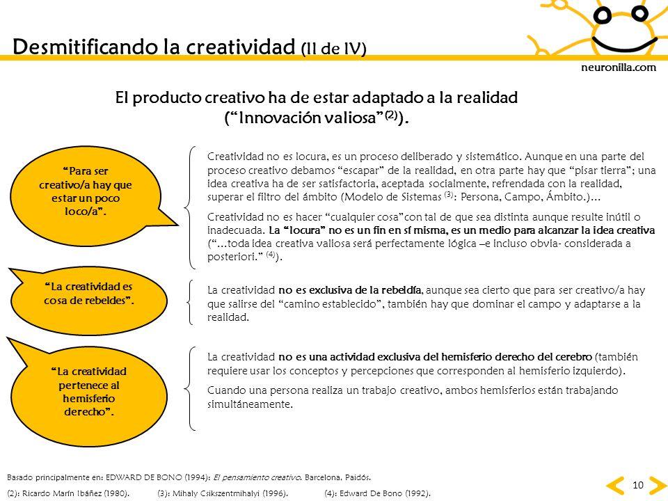 Desmitificando la creatividad (II de IV)