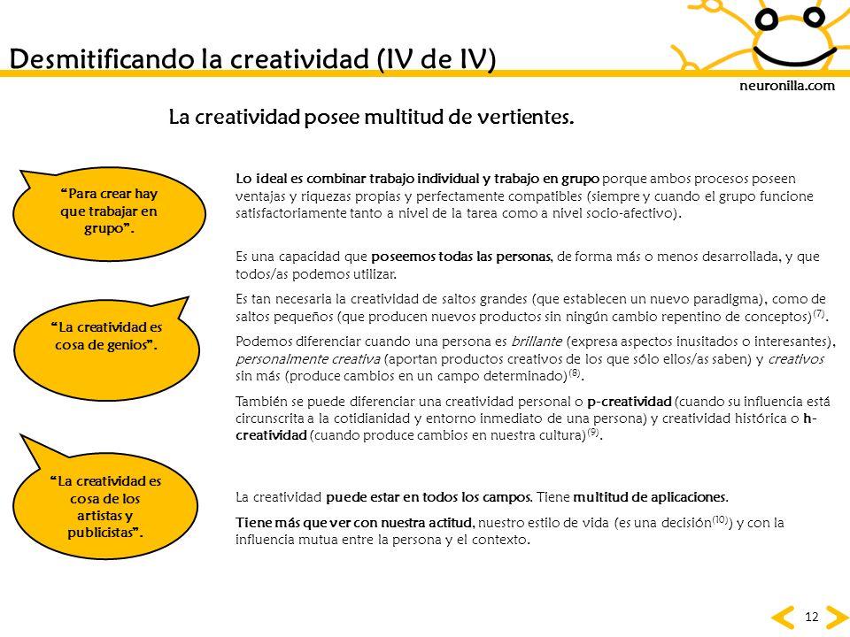 Desmitificando la creatividad (IV de IV)