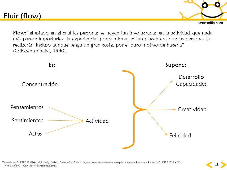 Fluir (flow) Es: Supone: Desarrollo Capacidades Concentración