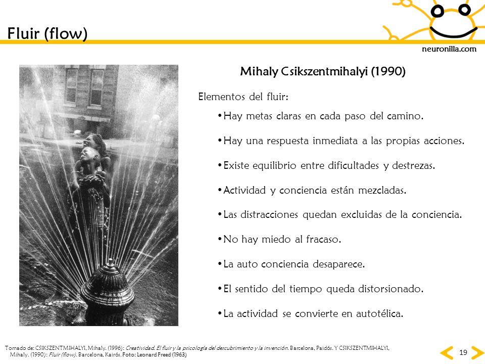 Fluir (flow) Mihaly Csikszentmihalyi (1990) Elementos del fluir: