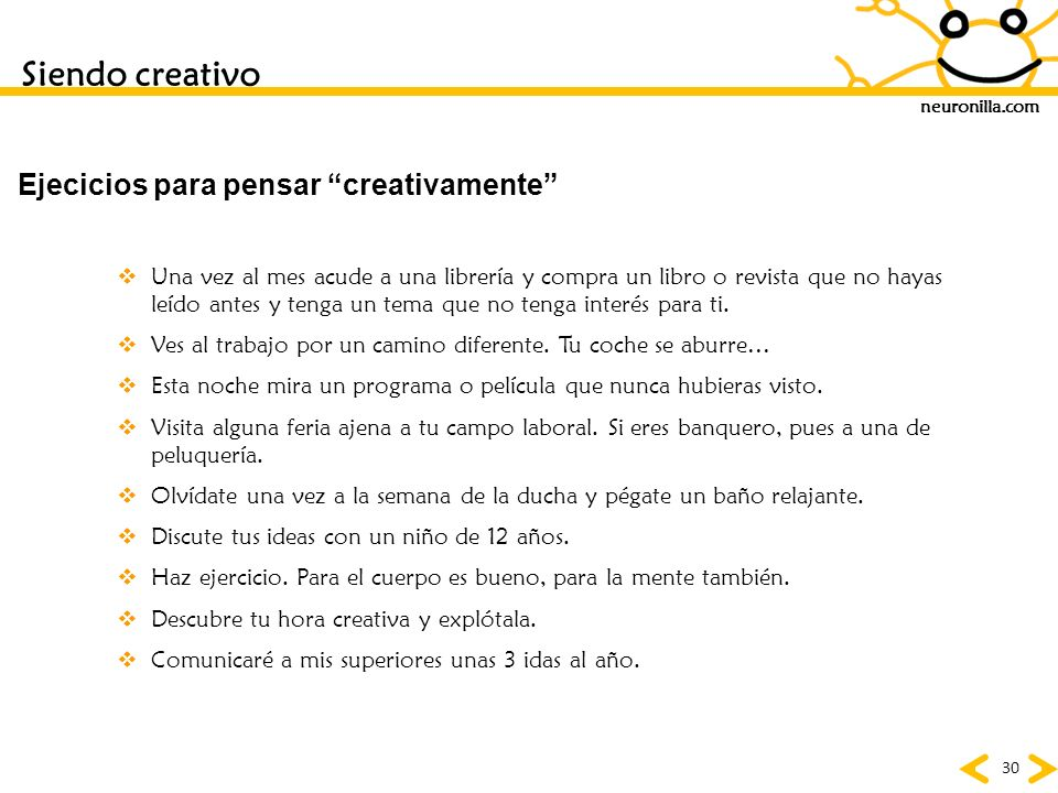Ejecicios para pensar creativamente