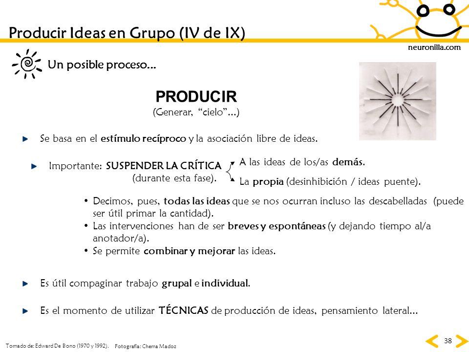 Producir Ideas en Grupo (IV de IX)